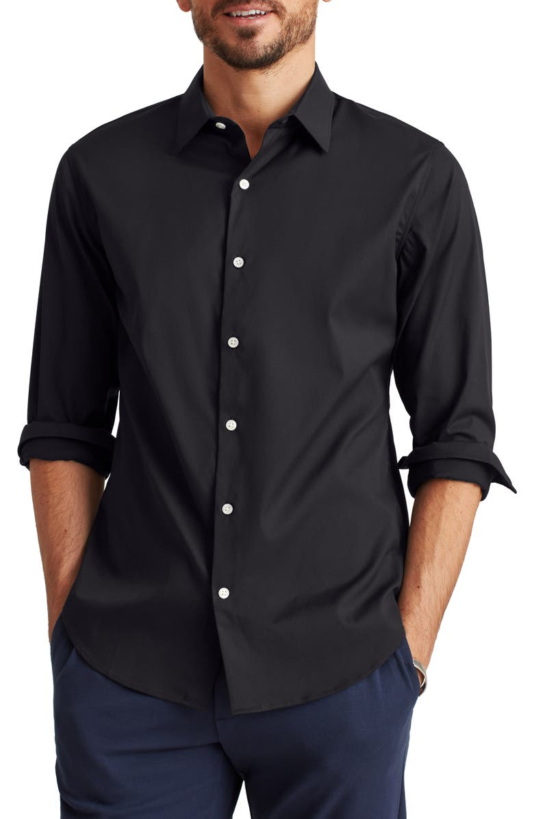BONOBOS Slim Fit Tech Button-Up Shirt, Main, color, JET BLACK