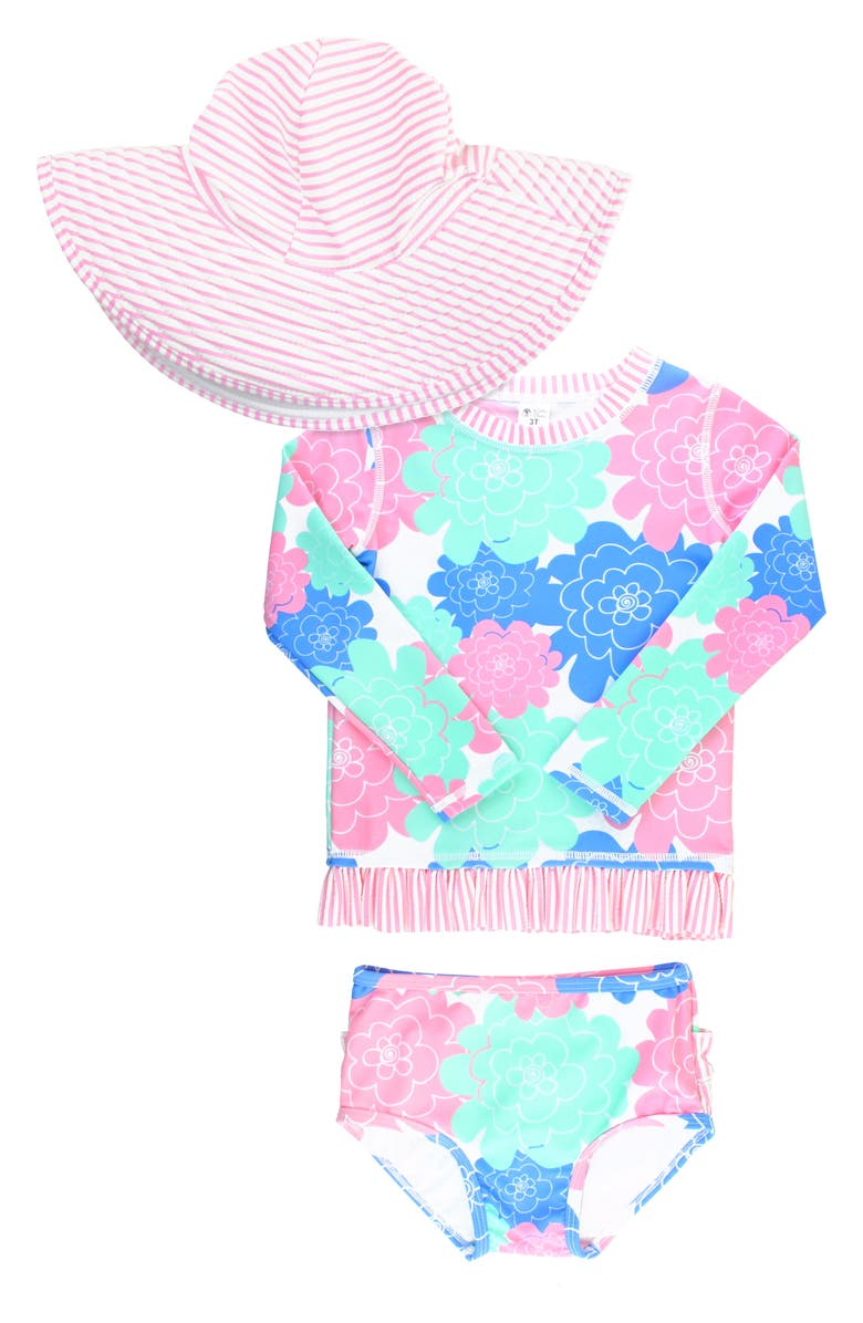 RUFFLEBUTTS Petals Two-Piece Rashguard Swimsuit & Hat Set, Main, color, WHITE