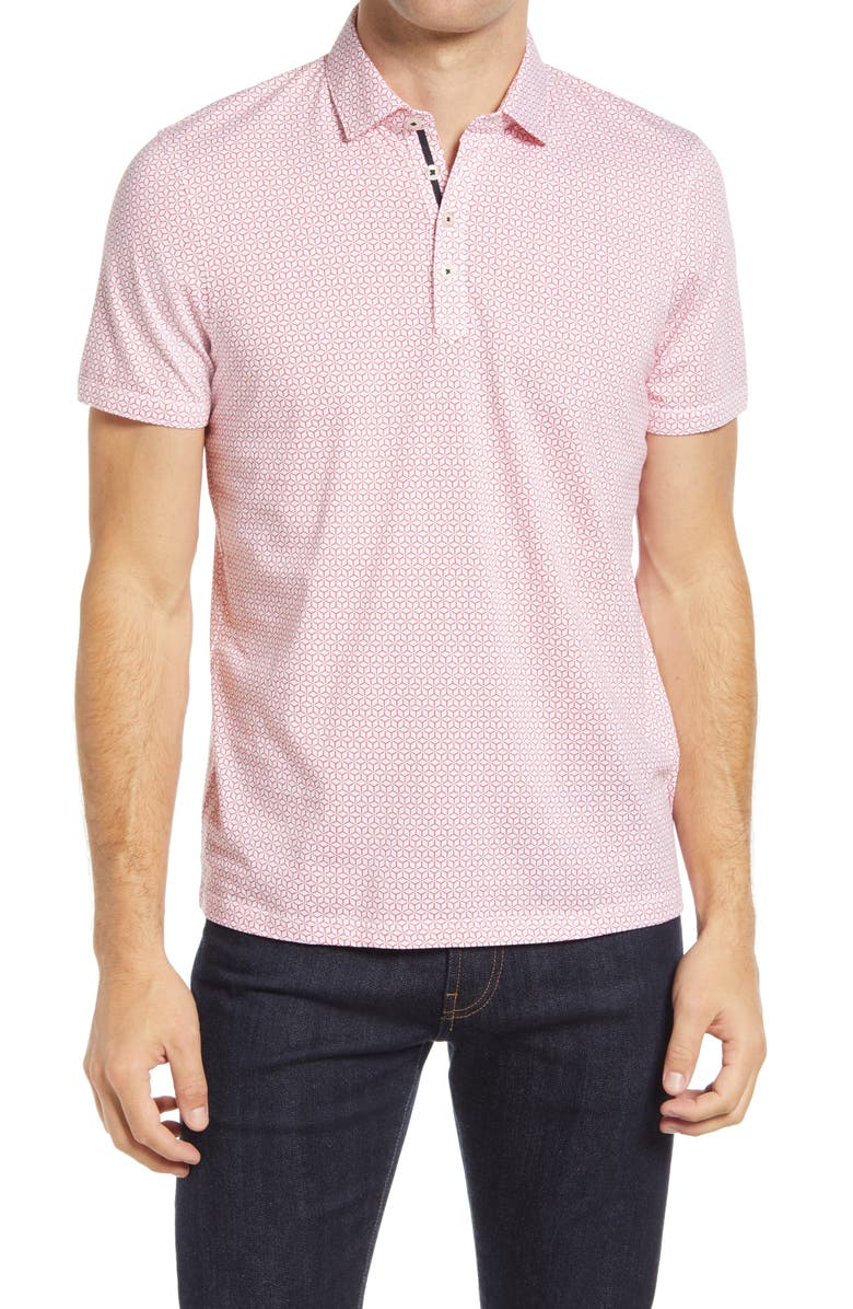 TED BAKER LONDON Limbo Slim Fit Geometric Print Polo, Main, color, RED