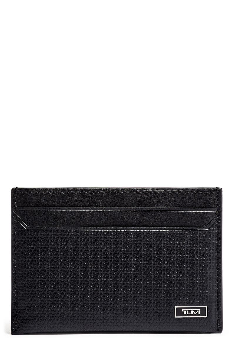 TUMI Monaco Slim Leather Card Case, Main, color, 001