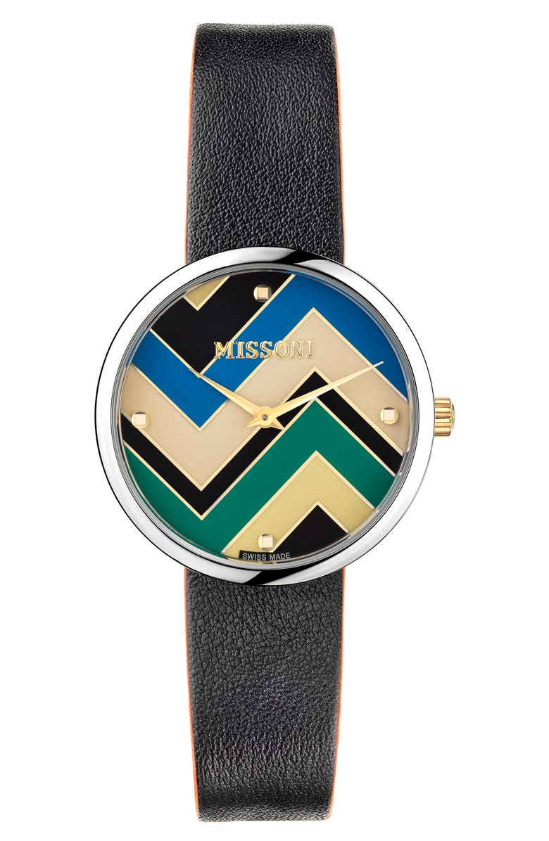 MISSONI M1 Joyful Chevron Dial Leather Strap Watch, 34mm, Main, color, STAINLESS STEEL / MULTICOLOR