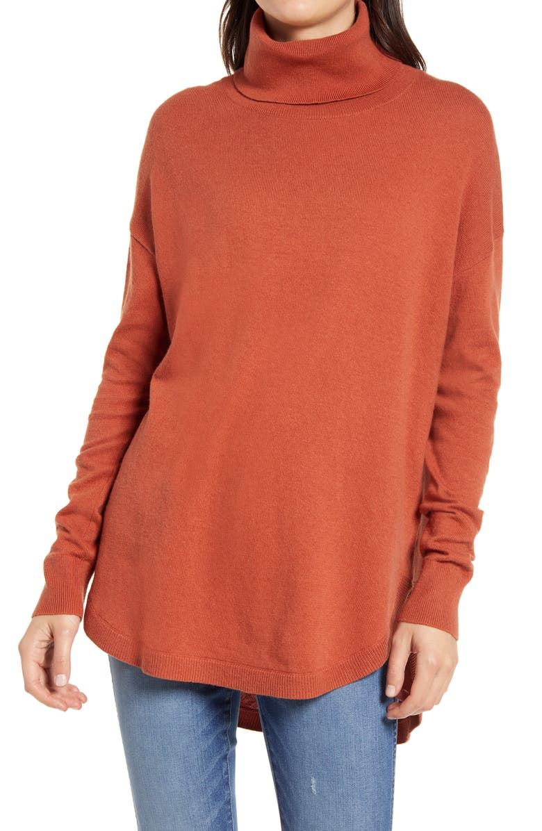CHELSEA28 Turtleneck Sweater, Main, color, RUST CLAY
