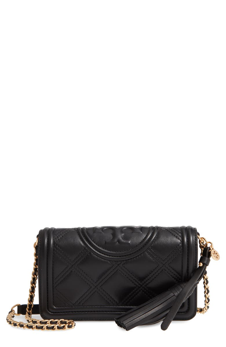 TORY BURCH Fleming Quilted Leather Wallet on a Chain, Main, color, BLACK