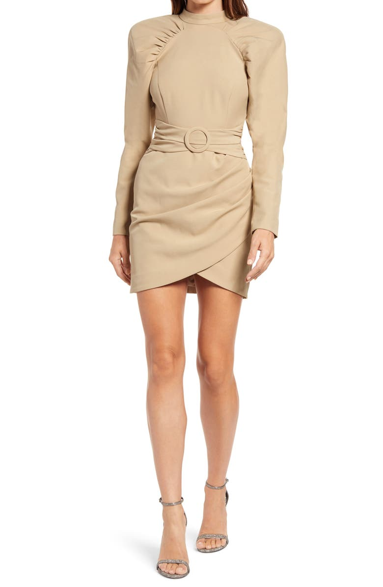 LAVISH ALICE High Neck Pleated Raglan Sleeve Minidress, Main, color, OLIVE GREEN