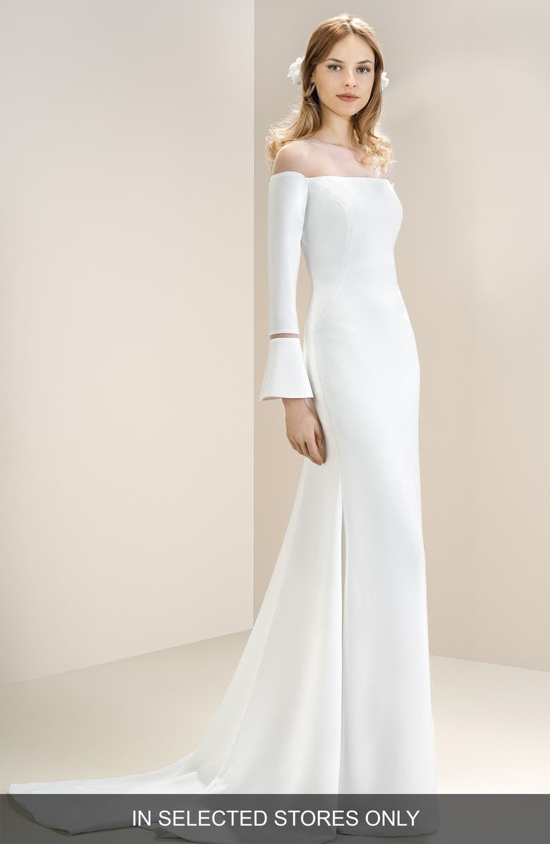 JESÚS PEIRÓ Off the Shoulder Illusion Neck Bell Sleeve Gown, Main, color, 900