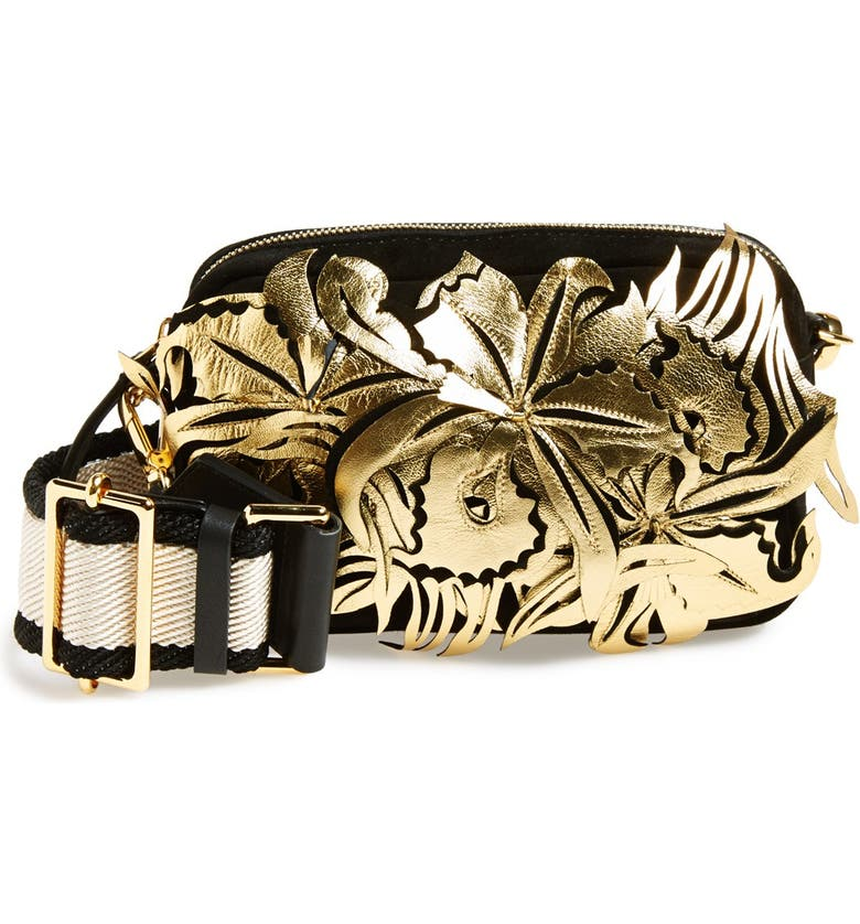 MARNI Floral Suede & Leather Fanny Pack, Main, color, 001