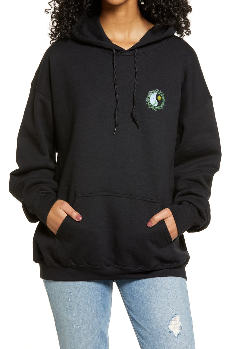 BDG URBAN OUTFITTERS Mystic Yin Yang Cotton Blend Hoodie, Main, color, BLACK