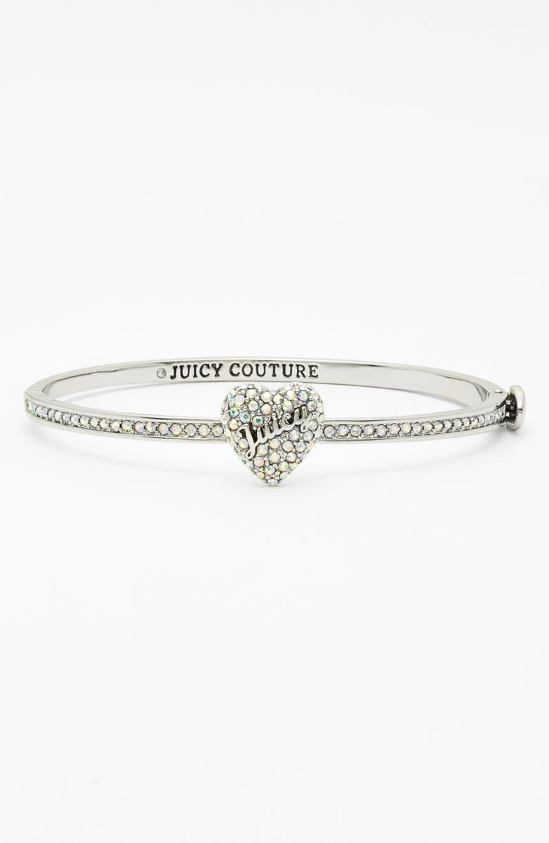 JUICY COUTURE Pavé Heart Skinny Hinged Bangle, Main, color, SILVER/ CRYSTAL AB