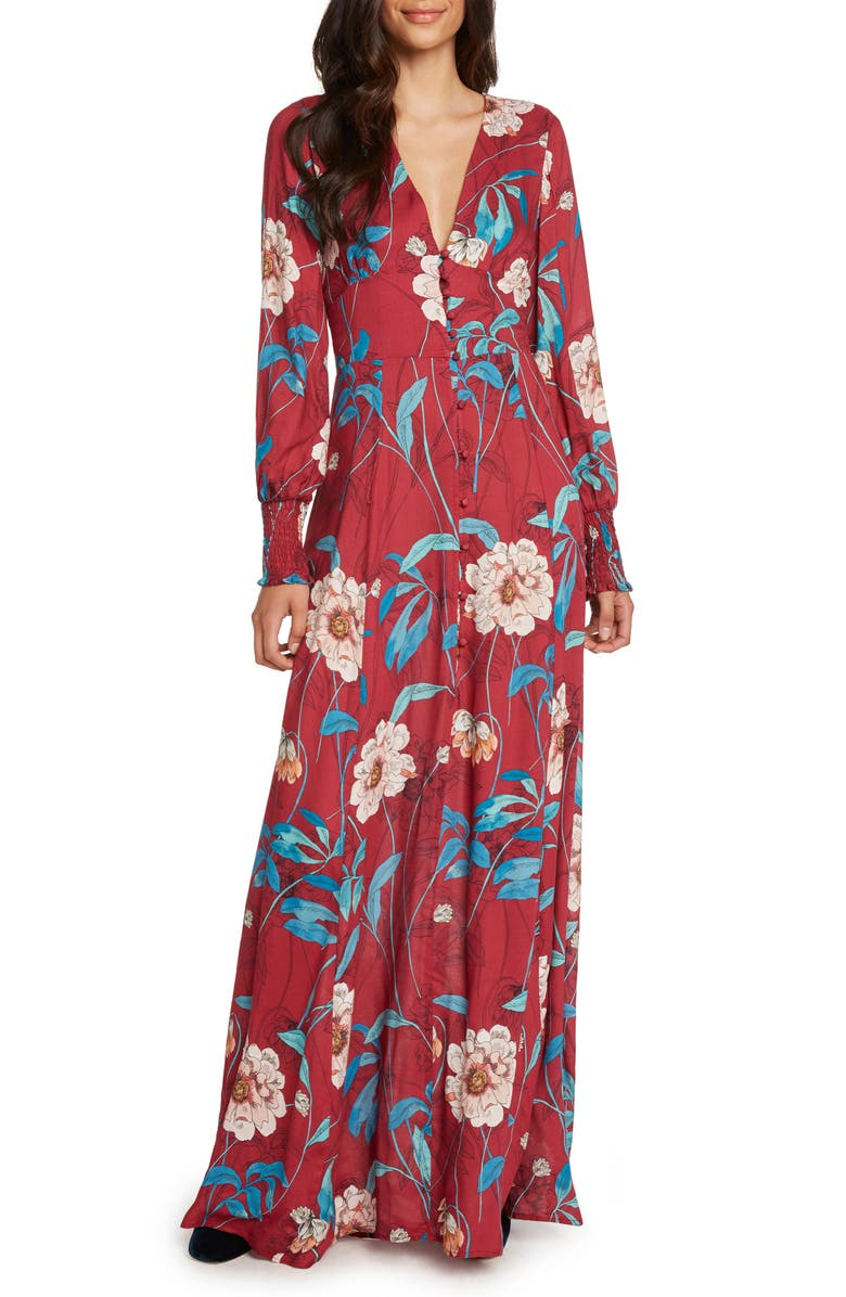 ZZDNU WILLOW & CLAY Willow & Clay Print Maxi Dress, Main, color, 548