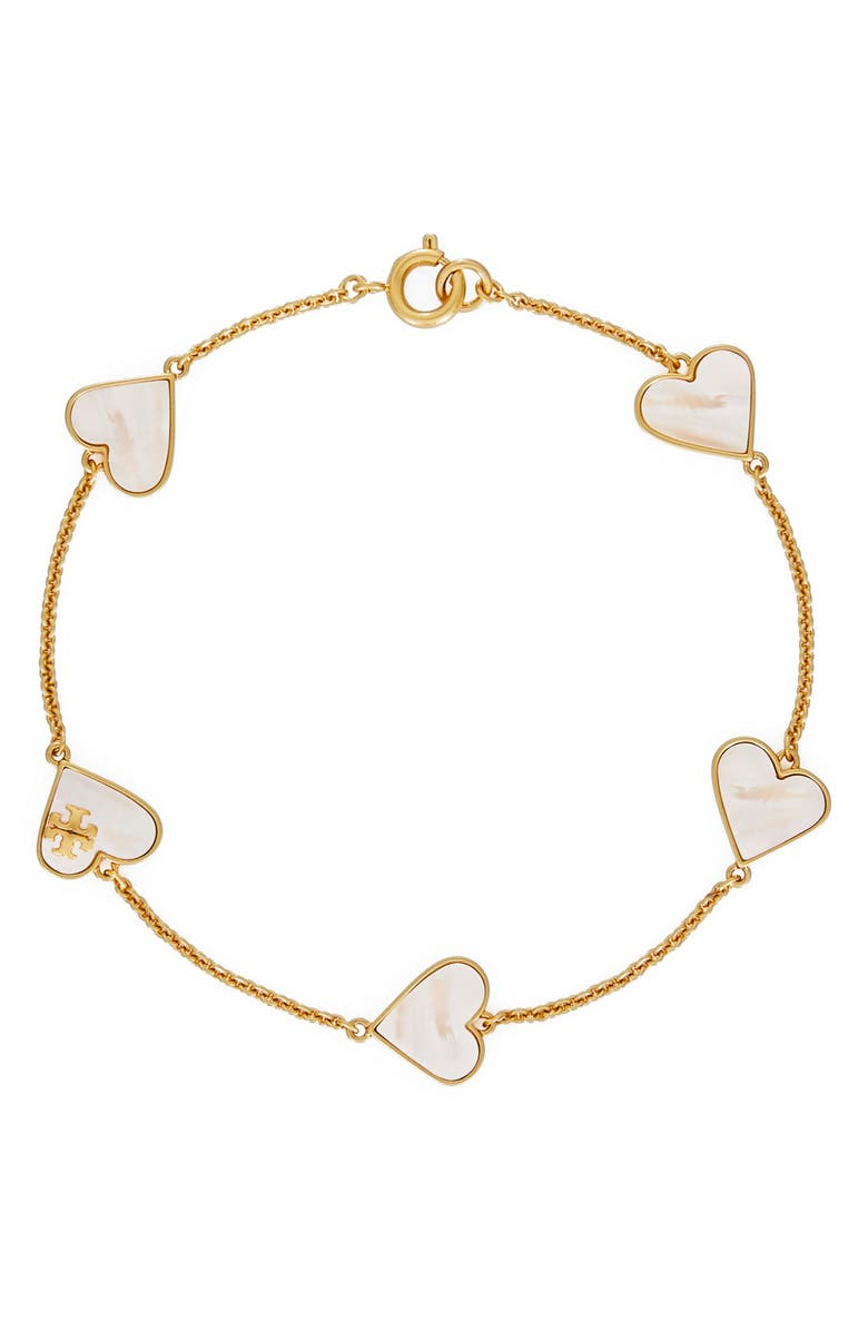 TORY BURCH Heart Station Bracelet, Main, color, ROLLED BRASS / MOTHER OF PEARL