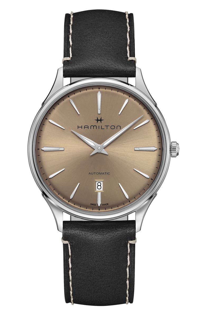 HAMILTON Jazzmaster Thinline Automatic Leather Strap Watch, 40mm, Main, color, 001