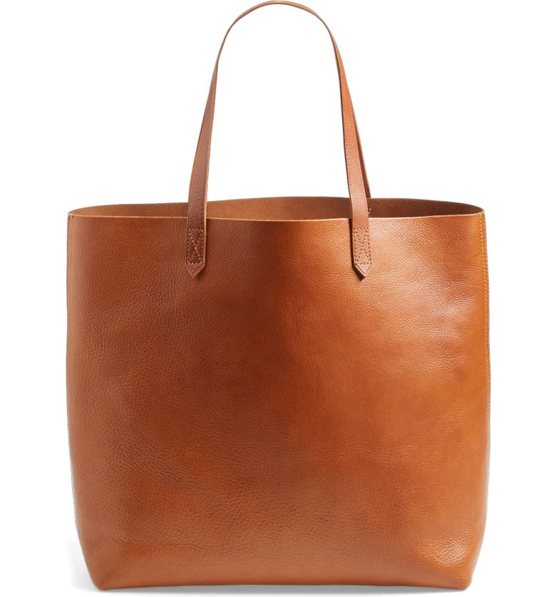 MADEWELL The Transport Leather Tote, Main, color, ENGLISH SADDLE