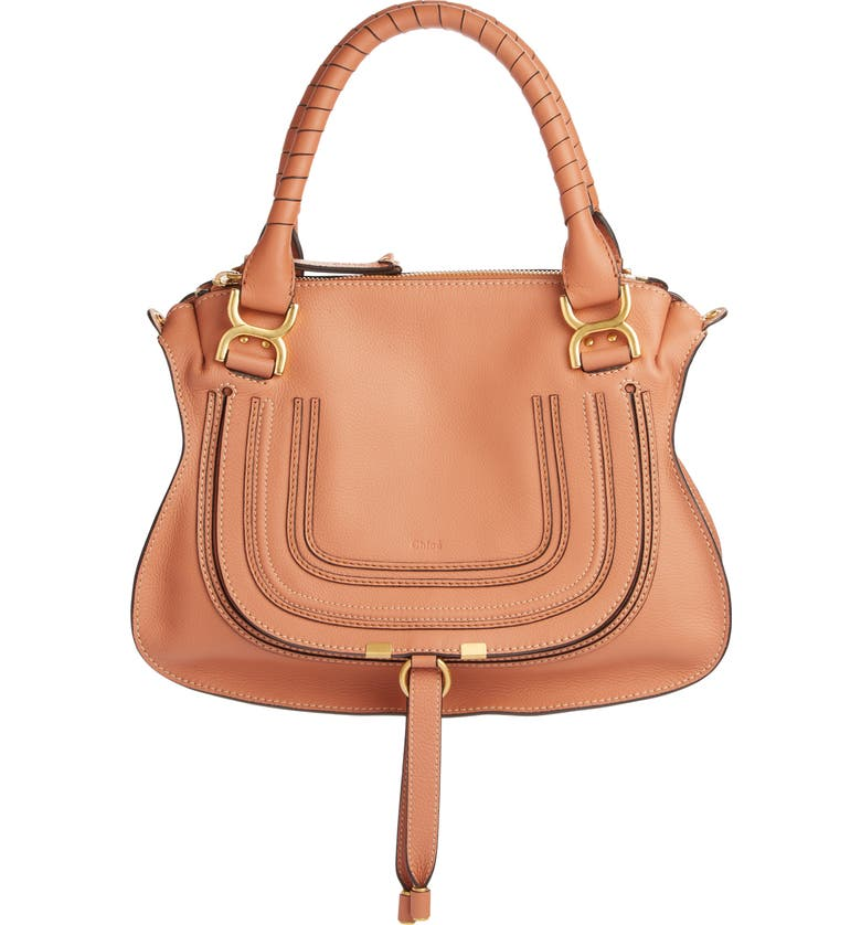 CHLOÉ Medium Marcie Calfskin Leather Satchel, Main, color, MUTED BROWN
