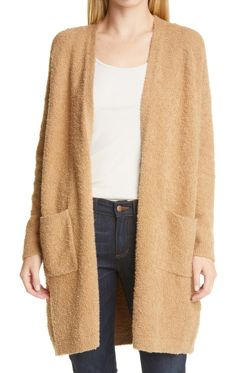 EILEEN FISHER Straight Open Front Long Cardigan, Main, color, HONEY