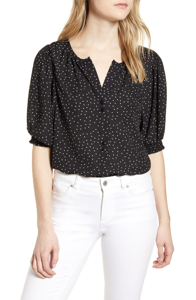 BOBEAU Valerie Dotted Puff Sleeve Blouse, Main, color, BLACK DOT