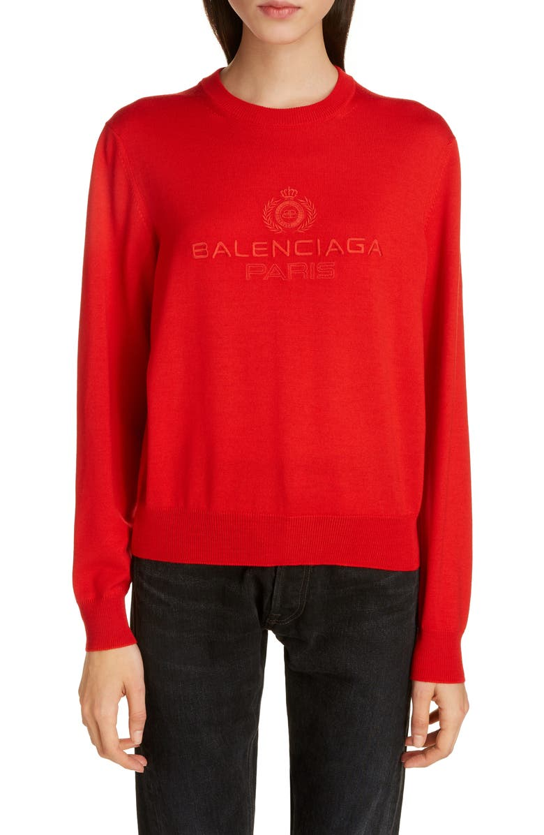 BALENCIAGA Logo Embroidered Wool Sweater, Main, color, RED/ RED