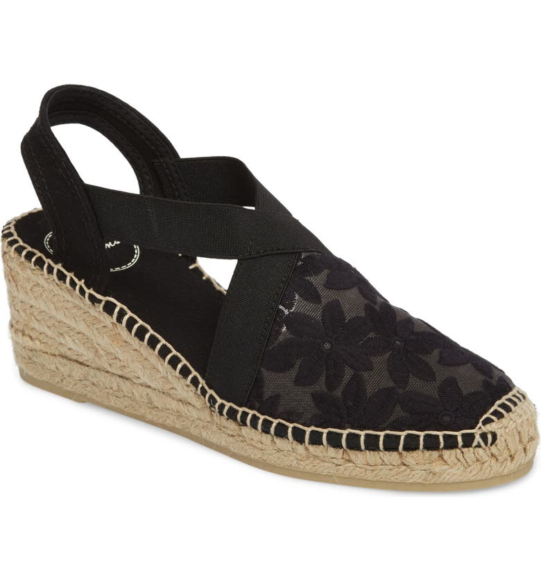TONI PONS Terra Espadrille Wedge Sandal, Main, color, BLACK FABRIC