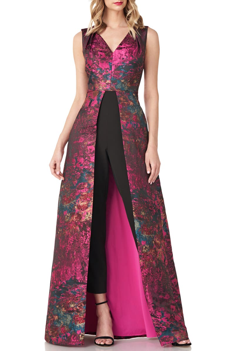 KAY UNGER Kelsey Abstract Jaquard Maxi Romper, Main, color, 650