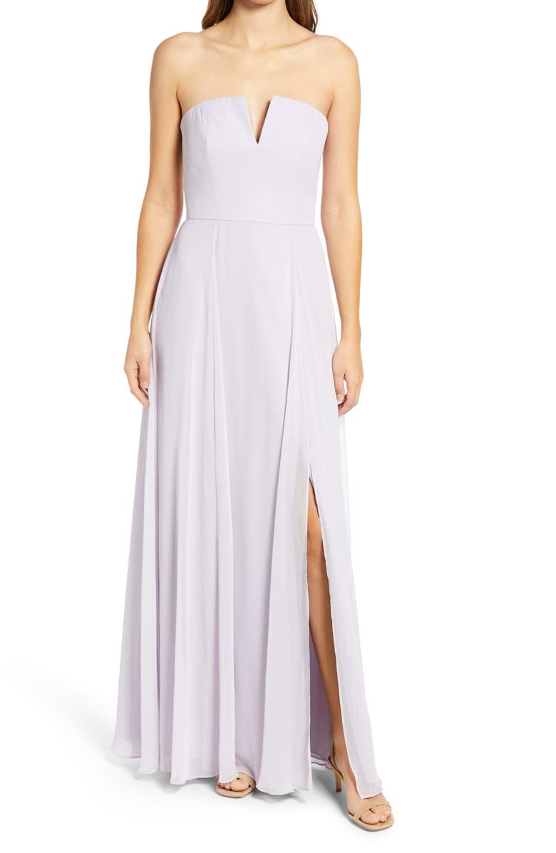 DESSY COLLECTION Strapless Chiffon A-Line Gown, Main, color, MOONDANCE