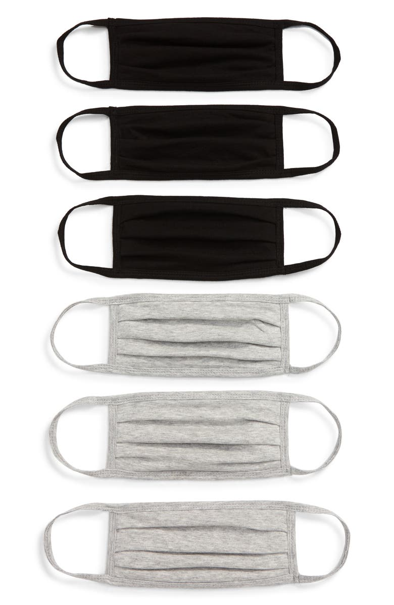 NORDSTROM 6-Pack Adult Pleated Cotton Face Masks, Main, color, GREY/ BLACK COMBO