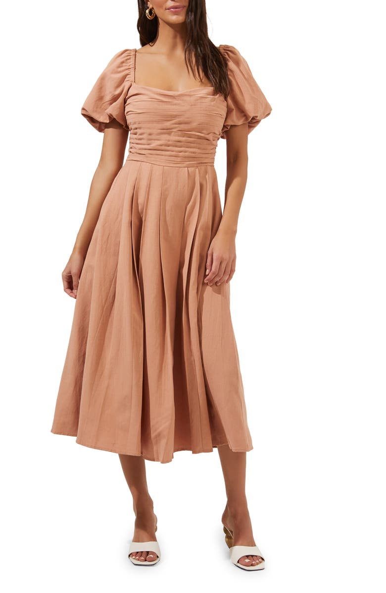 ASTR THE LABEL Pleated Bodice Bubble Sleeve Dress, Main, color, 277