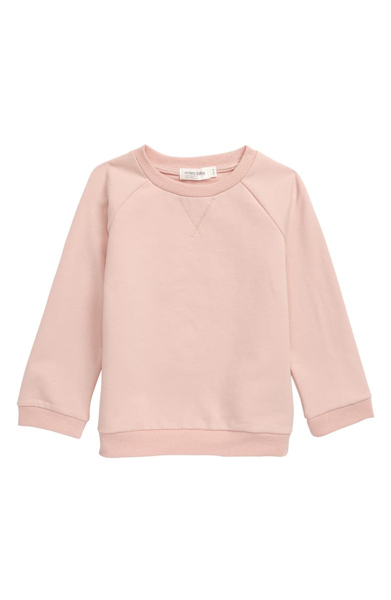 MILES baby Stretch Organic Cotton Sweatshirt, Main, color, LIGHT PINK