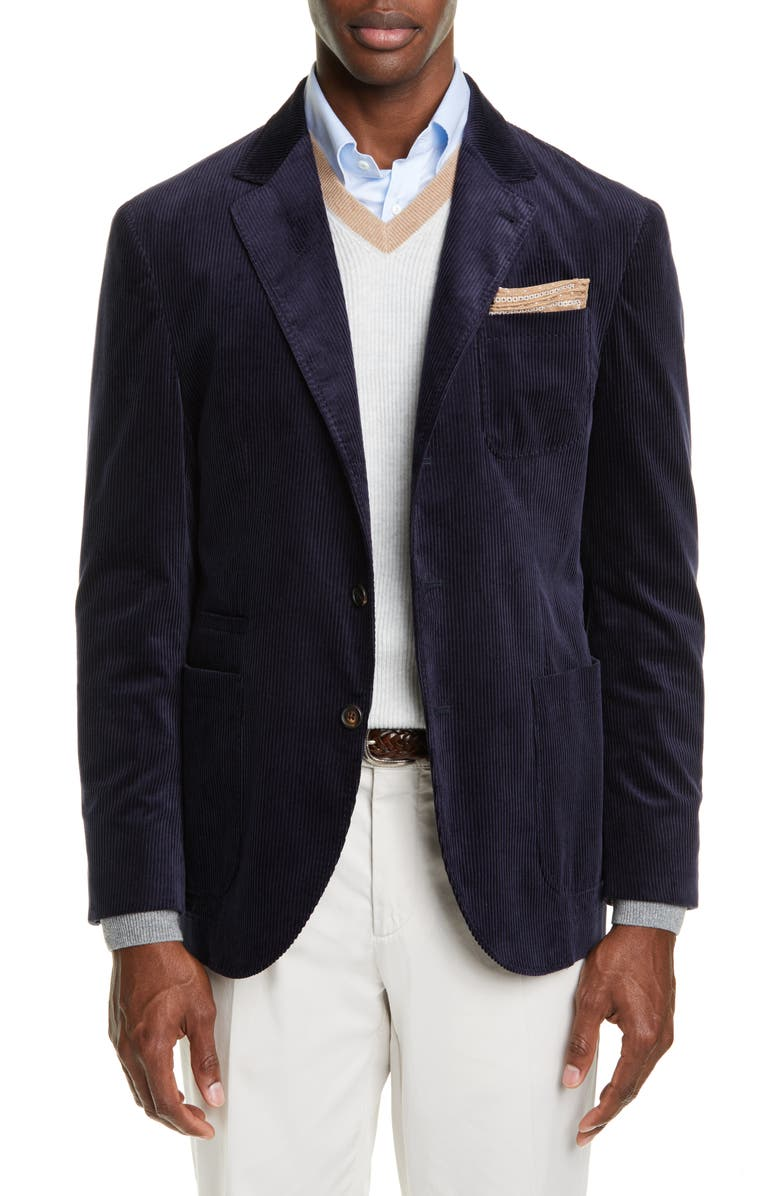 BRUNELLO CUCINELLI Sea Island Corduroy Sport Coat, Main, color, 410