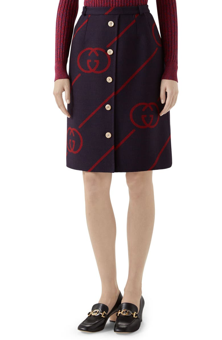 GUCCI Interlocking-G Print Reversible Wool & Silk Skirt, Main, color, 494