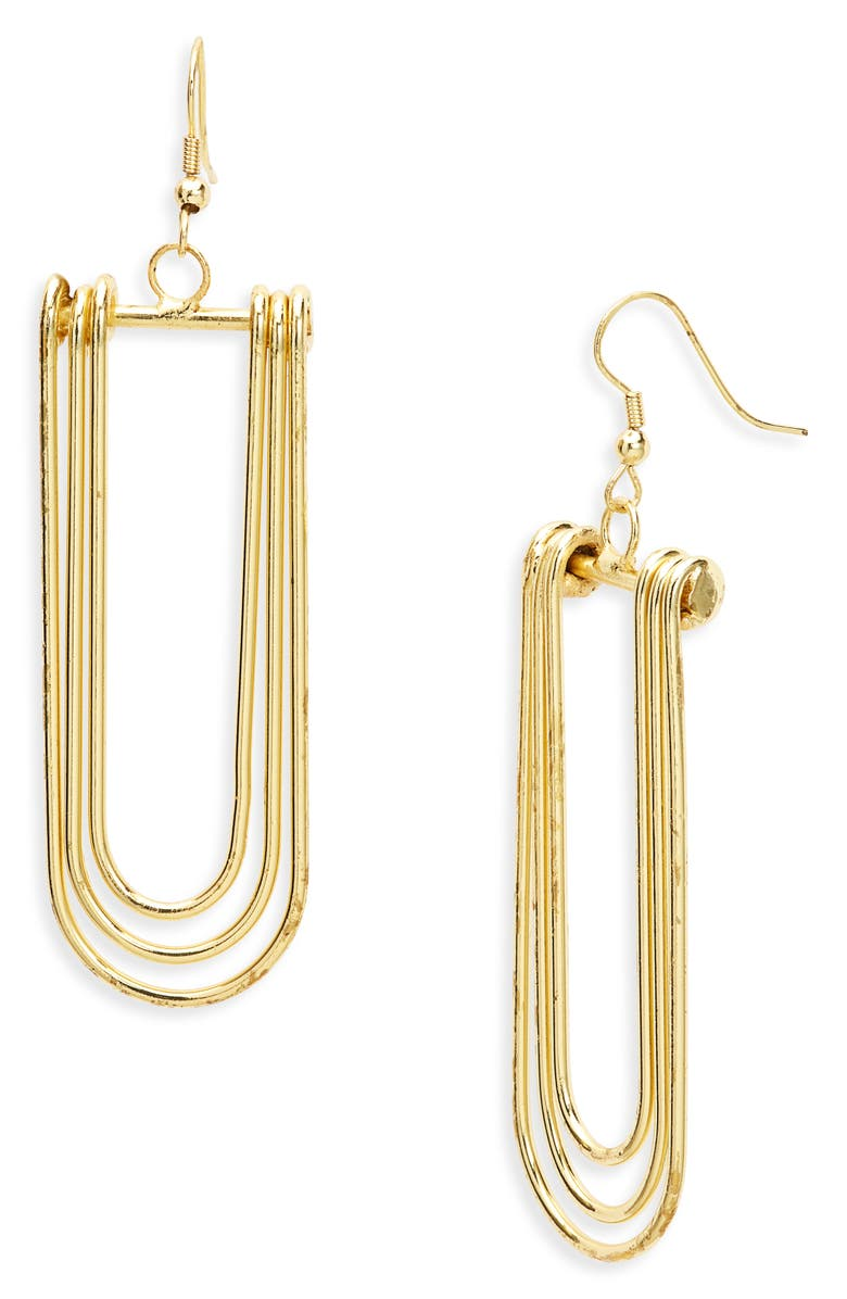 AREA STARS Ritz Concentric Loop Drop Earrings, Main, color, Gold