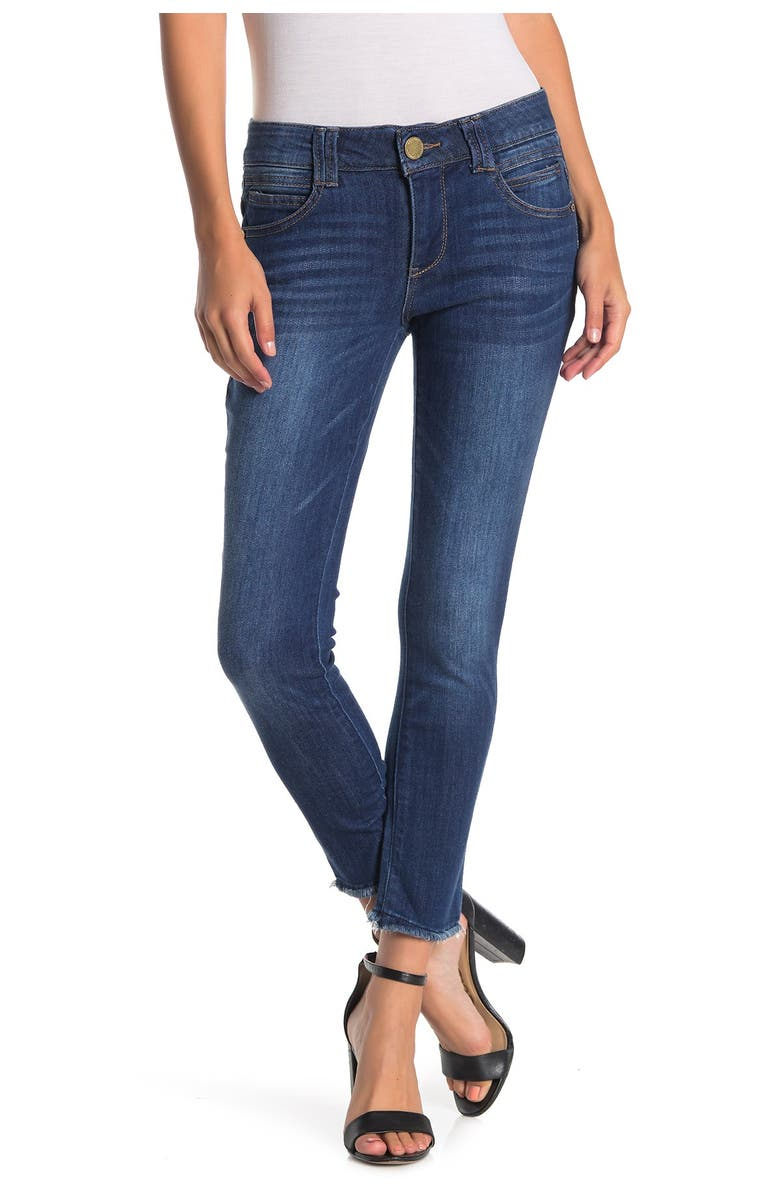 DEMOCRACY Ab Technology Luxe Touch Fray Hem Ankle Skinny Jeans, Main, color, BLUE