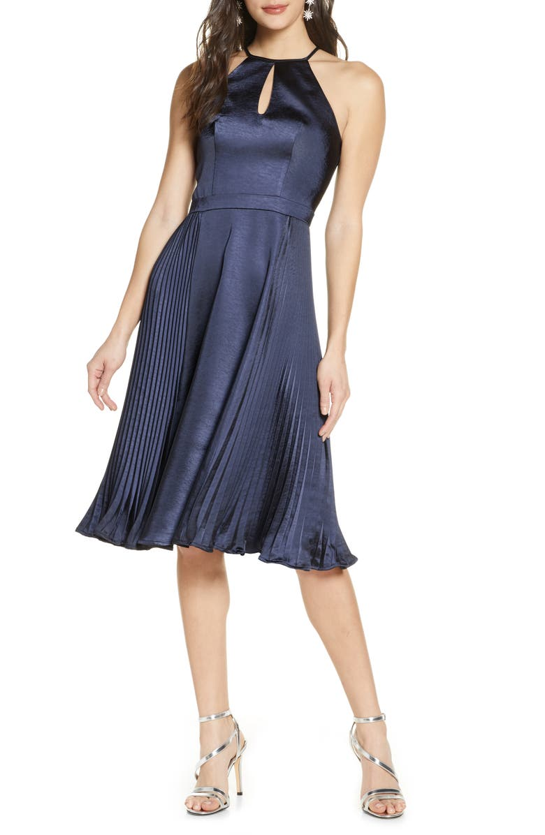 CHI CHI LONDON Benita Satin Cocktail Dress, Main, color, NAVY