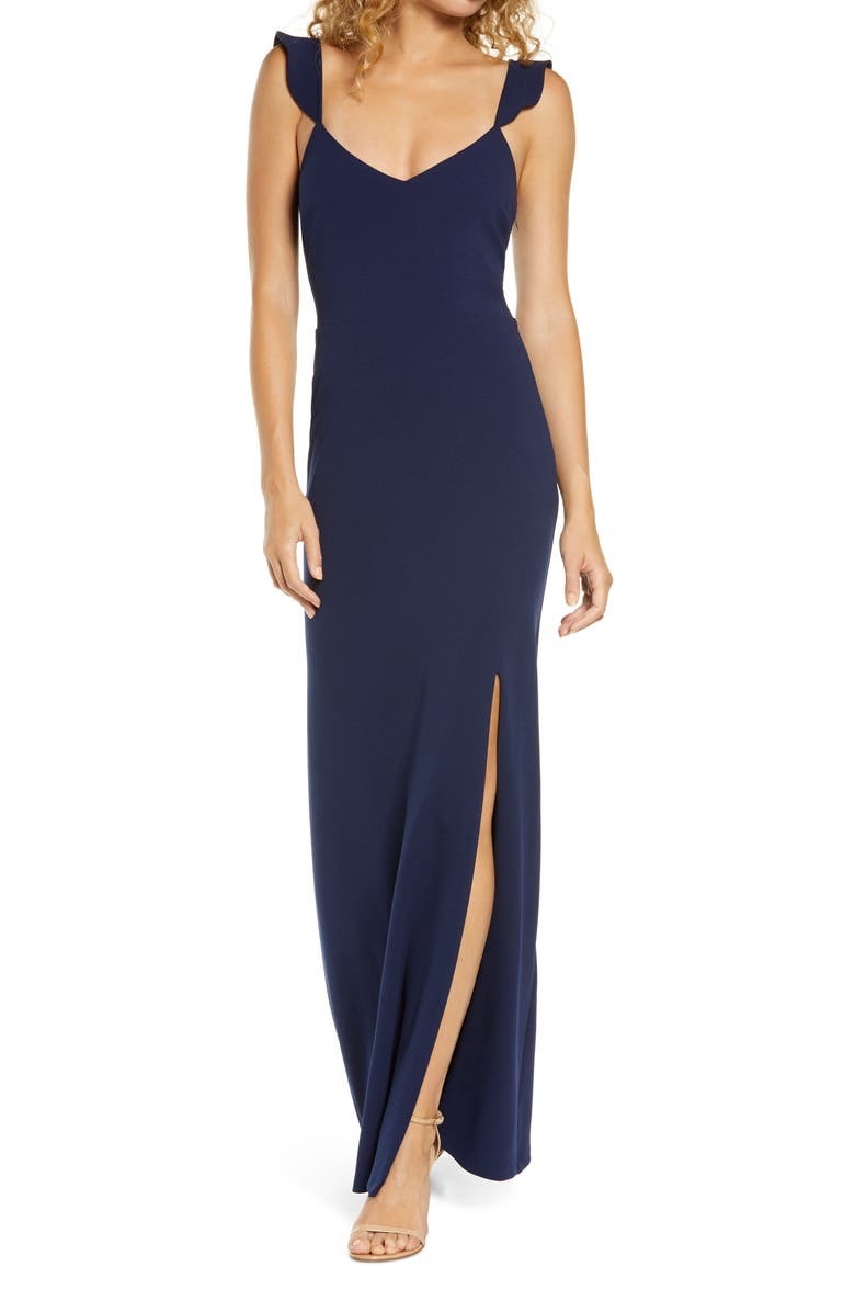 WAYF The Mina Ruffle Strap Gown, Main, color, NAVY
