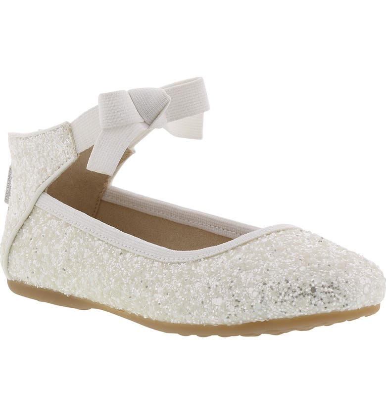 KENNETH COLE NEW YORK Rose Bow Ballet Flat, Main, color, WHITE SUGAR GLITTER