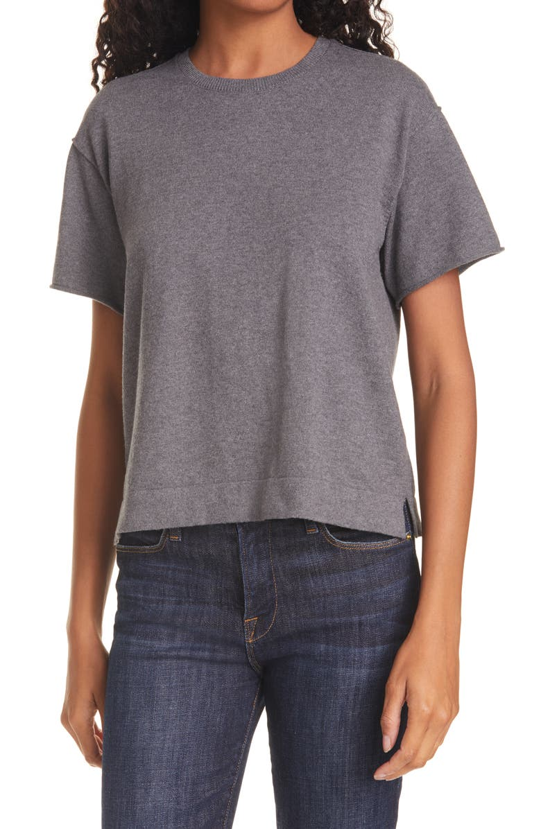 ATM ANTHONY THOMAS MELILLO Cotton & Cashmere T-Shirt Sweater, Main, color, HEATHER CHARCOAL
