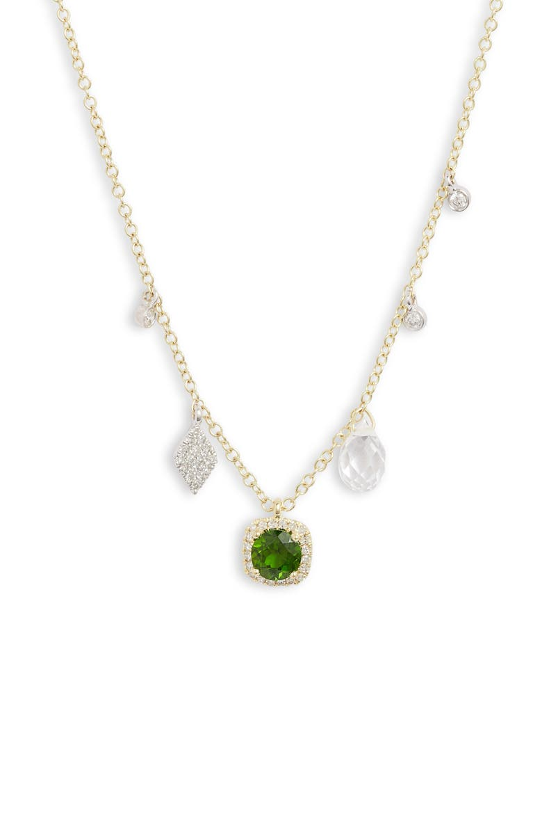MEIRA T Tourmaline & Diamond Charm Frontal Necklace, Main, color, 710