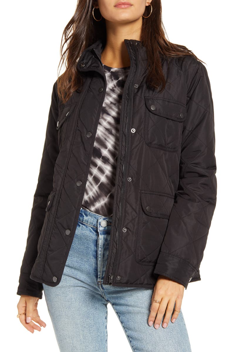 THREAD & SUPPLY Fleece Lined Quilted Utility Jacket, Main, color, 001