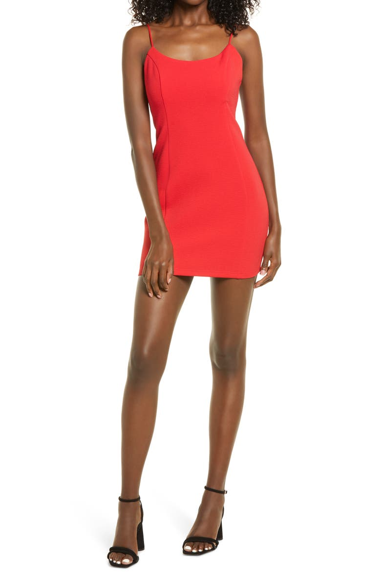 LULUS Stay Out Later Low Back Body-Con Minidress, Main, color, RED