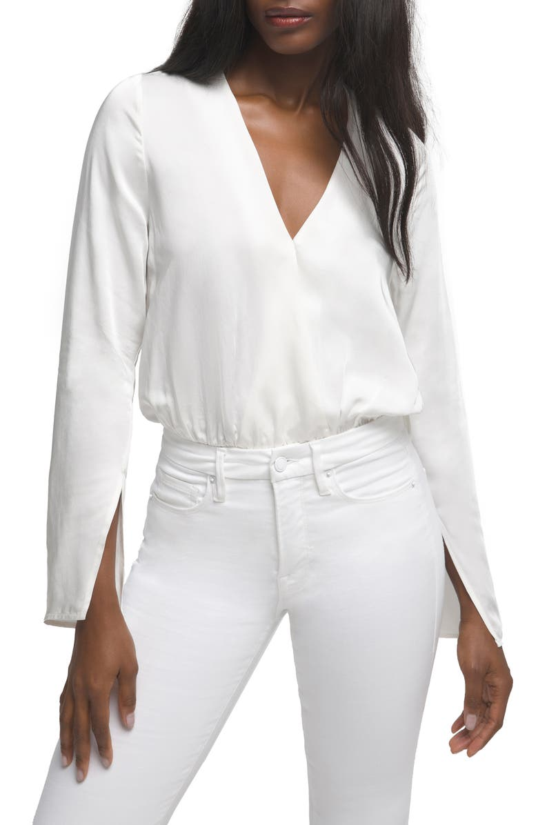 GOOD AMERICAN Wrap Front Long Sleeve Satin Bodysuit, Main, color, IVORY001