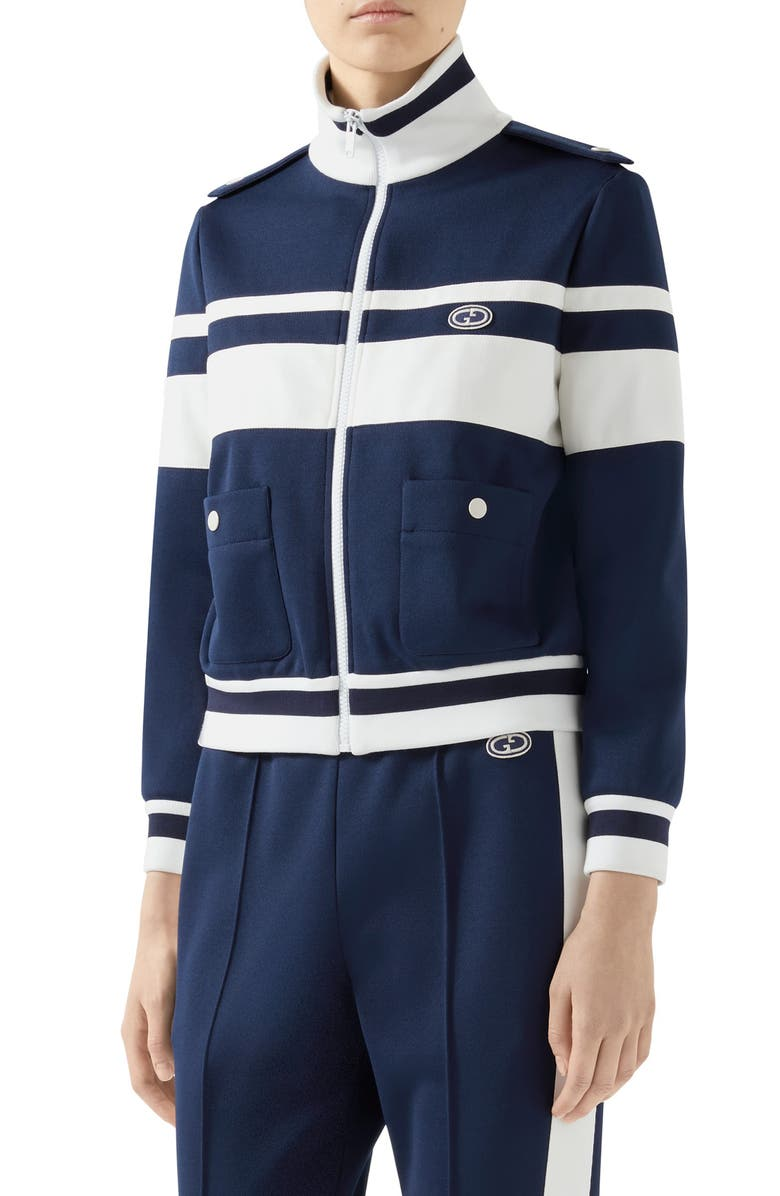 GUCCI Stripe Piqué Track Jacket, Main, color, 400