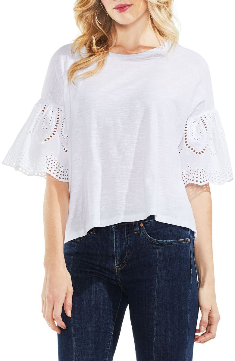 VINCE CAMUTO Lace Eyelet Ruffle Sleeve Tee, Main, color, ULTRA WHITE