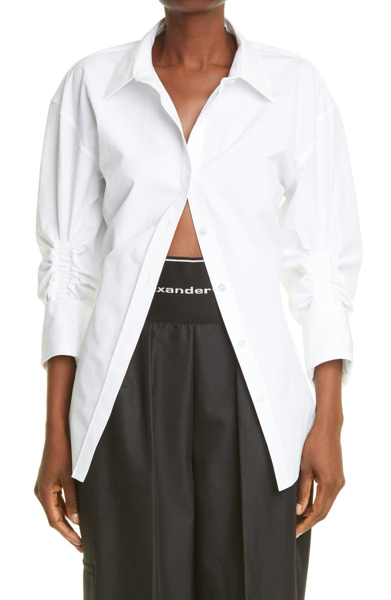 ALEXANDER WANG Ruched Sleeve Oversized Shirt, Main, color, White