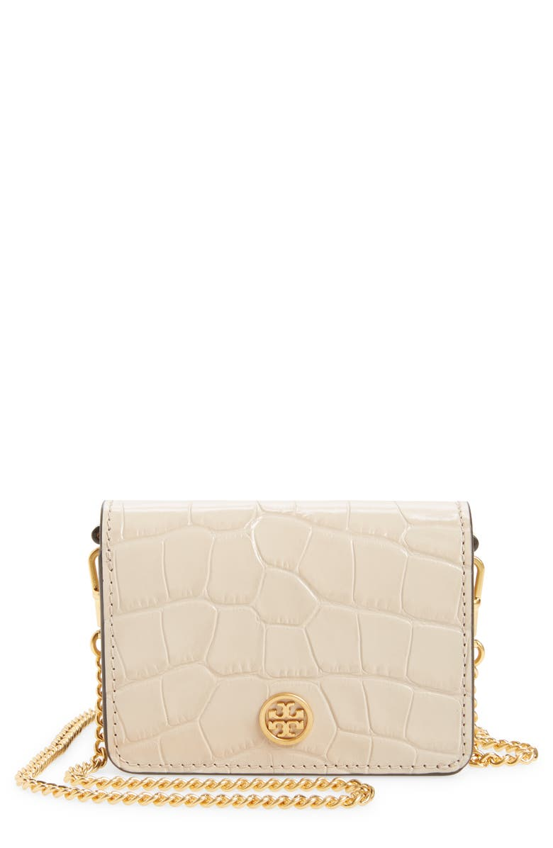 TORY BURCH Nano Walker Leather Wallet on a Chain, Main, color, 250