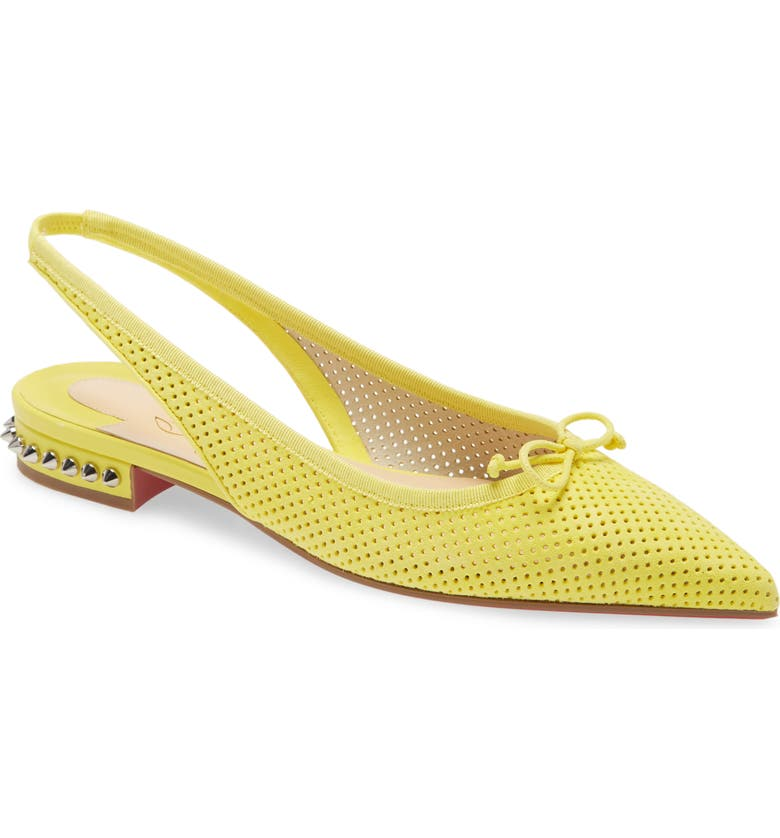 CHRISTIAN LOUBOUTIN Hall Spike Perforated Slingback Flat, Main, color, VERS CITRONNADE