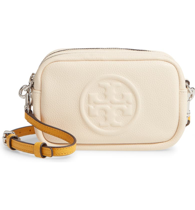 TORY BURCH Perry Bombe Leather Crossbody Bag, Main, color, NEW CREAM