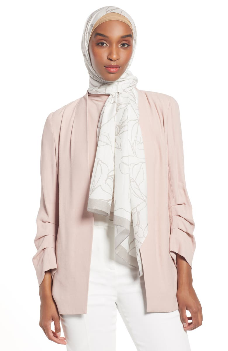 NORDSTROM Henna & Hijabs Cotton & Silk Hijab, Main, color, IVORY FLORAL STROKE PRINT