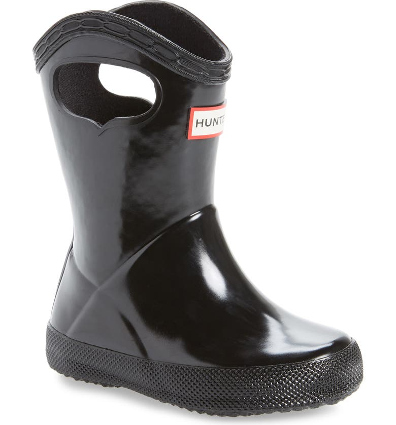 HUNTER First Classic Pull-On Waterproof Rain Boot, Main, color, Black