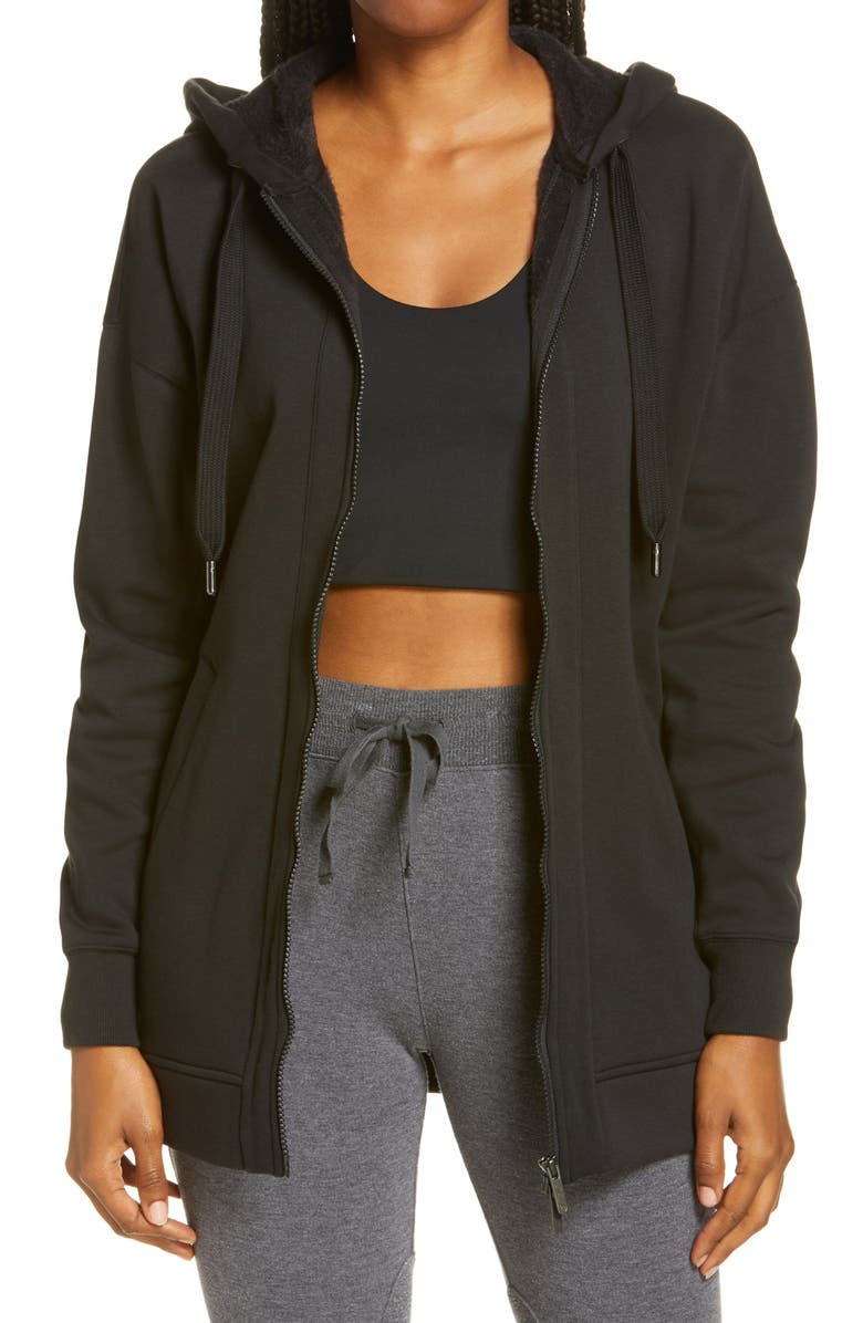 ZELLA Amazing Long Full Zip Hoodie, Main, color, Black