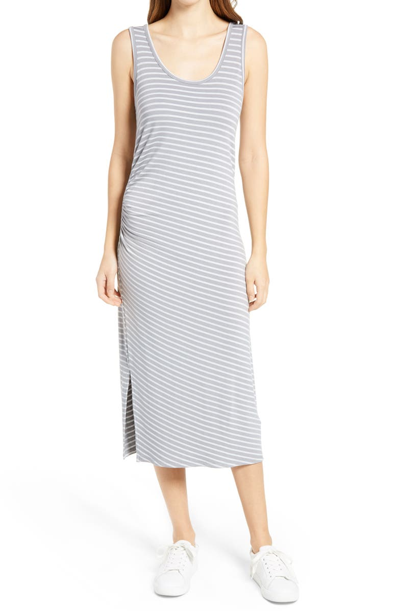 CASLON<SUP>®</SUP> Ruched Sleeveless Midi Tank Dress, Main, color, GREY STRIPE