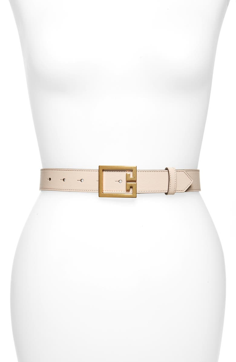 GIVENCHY GV3 Leather Belt, Main, color, DUNE