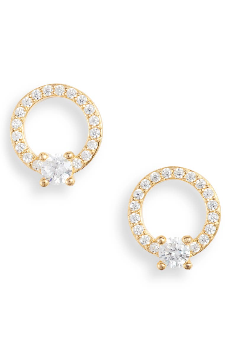 NORDSTROM Pavé Open Circle Cubic Zirconia Stud Earrings, Main, color, CLEAR- GOLD